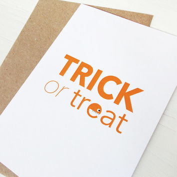 Halloween card Trick or treat orange print monster greeting