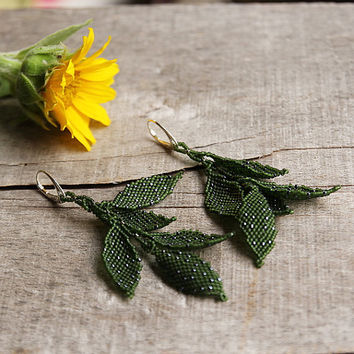 Extra long earrings, dangling leaf earring, handcrafted earrings, anniversary gift for her, dangling leaves, sterling silver earring