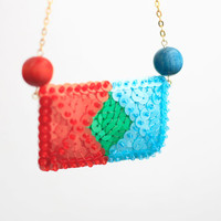 Colorful Sequin Necklace, Geometry Chain Necklace, Bold Women Jewelry, Orange Green Blue Sequins, Embroidered Felt, Bright Necklace