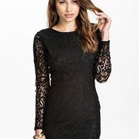 Sheer Lace Back Bodycon Dress