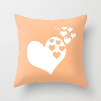 Peach Orange Hearts of Love Throw Pillow by BeautifulHomes