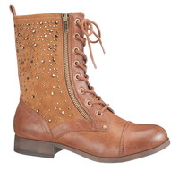 Brown Colby jeweled combat boot