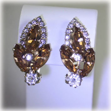 Vintage Signed Weiss Topaz Rhinestone Evening Wear Earrings