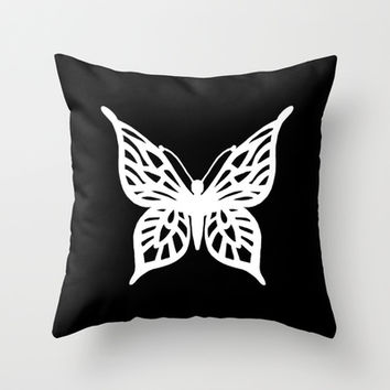 Butterfly White on Black Throw Pillow by Project M | Society6