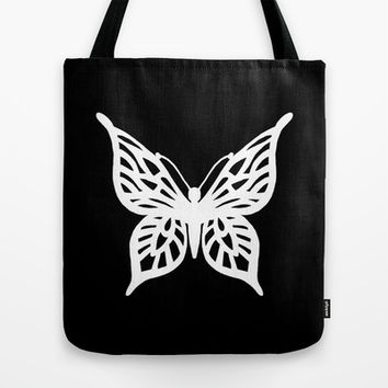 Butterfly White on Black Tote Bag by Project M | Society6