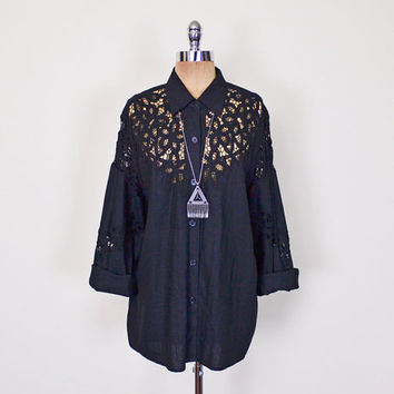 Black Bali Cut Work Cutwork Shirt Blouse Top Sheer Lace Shirt Crochet Shirt Oversize Shirt Button Up Shirt 80s 90s Grunge Shirt S M L XL