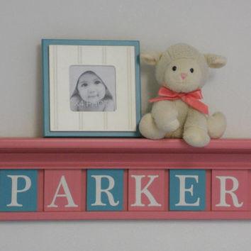 "Pink Turquoise Nursery Wall Decor Personalized for - PARKER - 24"" Pink Shelf with 6 Wooden Letters in Teal and Pink, Baby Girl Nursery Decor"