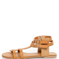 Bamboo Sherin 02 Natural Tan Gladiator Sandals - $25.00