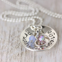 Personalized Sterling Silver Mommy Necklace - Hand Stamped Jewelry - Birthstone Necklace - Names Heart Charm - Christina Guenther
