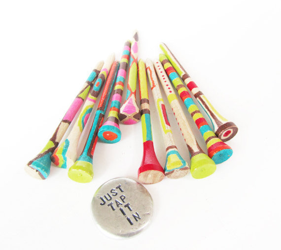 Womens golf gift - hand stamped golf marker colorful golf tees - just tap it in