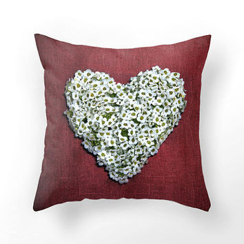 Red heart pillow from white flowers, DECORATIVE THROW PILLOW cover, white heart shape on red pillow…
