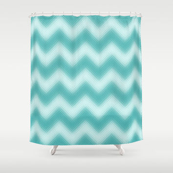 Chevron Turquoise Berry Shower Curtain by Alice Gosling