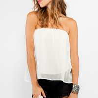 White Strapless Loose Fit Sheer Top with Elastic Top Band