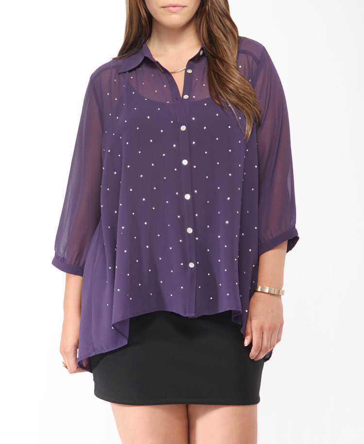 Rhinestone High-Low Blouse