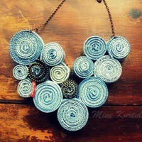 Recycled Levis Jean Bib Necklace No2 by LoveandDream on Etsy
