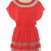 CORAL CONTRAST LACE WOVEN DRESS @ KiwiLook fashion