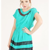 GREEN CONTRAST LACE WOVEN DRESS @ KiwiLook fashion