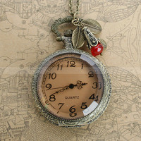 Retro style transparent pocket watch locket necklace with three leaves and red crystal bead