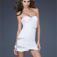 Beautiful Sweetheart Gathered Net Body Sequin Short Prom Dress PD10673 Online Sale