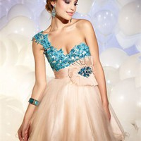 One Shoulder Sweetheart Empire Two Toned Taffeta Tulle Short Prom Dress PD10556 Online Sale