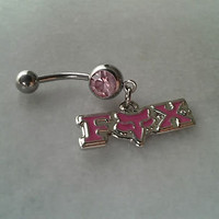 Fox Racing Belly / Navel Ring Sexy Body Jewelry Dangle Pink Crystals Enamel