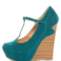 Dollhouse Trip Teal T-Strap Platform Wedges - $48.00