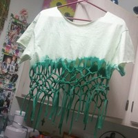 Monique&#x27;s Fun Accessories | Green Fringe T-Shirt  (Medium) | Online Store Powered by Storenvy