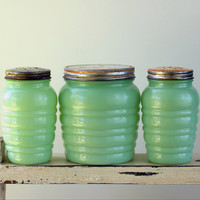 Anchor Hocking Jadeite Jadite Shakers Grease Jar Set