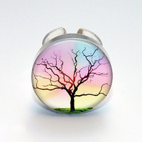 Round Glass Bezel Ring Tree Adjustable Tree Ring (A3546R)
