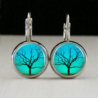 Round Glass Bezel Earrings Tree Earrings Silver (A3548E)