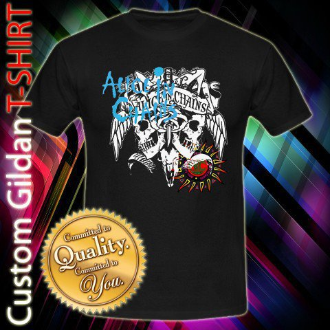Alice in Chains Rock Band Skull Logo Custom Black T-Shirt Size S-XXL