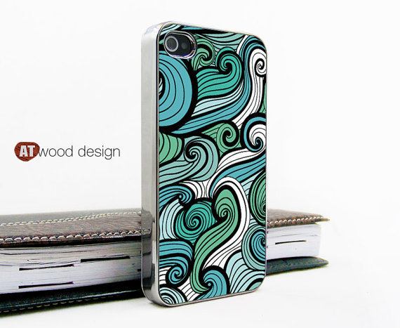 Iphone case iphone 4 case iphone 4s case iphone 4 cover Iphone light silvery green white curve  image unique design printing