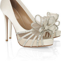 Valentino|Bow-embellished satin sandals|NET-A-PORTER.COM