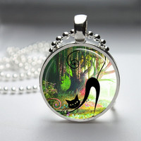 Round Glass Bezel Pendant Cat Pendant Cat Necklace With Silver Ball Chain (A3625)