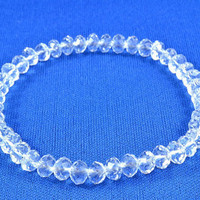 Clear Crystal Beaded Stretchy Bracelet, Shiny and Sparkly, Adorable Bracelet