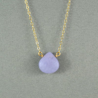 Beautiful Lavender Jade Heart Necklace, Natural Stone Bead, 14K Gold Filled Chain, Wonderful Necklace