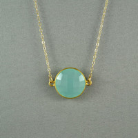 Aqua Blue Chalcedony Necklace, 24K Gold Vermeil Bezel, 14K Gold Filled Chain, Beautiful Jewelry