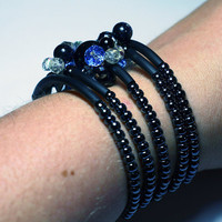 Funky beaded fashion bracelet - Blue, purple and black swarovski crystal and gemstone cluster wire cuff fashion bracelet