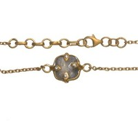 SKU Jewelry Gold Plated Sterling Silver Bracelet with Labradorite Stones and CZs