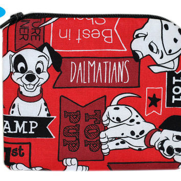 NEW 101 Dalmations Inspired Coin Purse | Disney Change Purse | Red Zipper Bag | Dog ID Holder