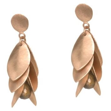 Rose Gold Plated Silver Petal Earrings