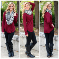 The Perfect Long-Sleeved Tunic - Burgundy