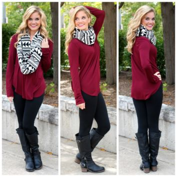 The Perfect Long-Sleeved Tunic  Burgundy