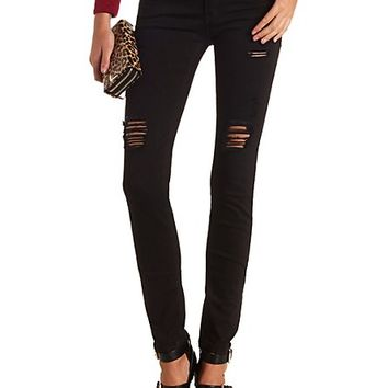 Shredded Low Rise Skinny Jeans by Charlotte Russe - Black