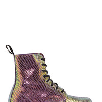 Dr. Martens Green And Pink Mirror Shift 8-eye Pascal Boots