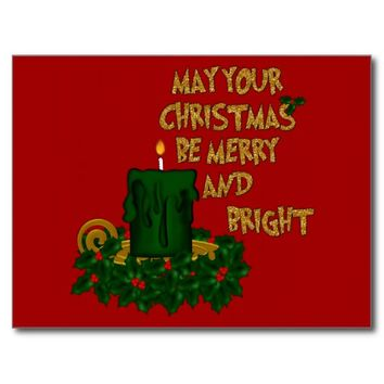 Postcard-Merry and Bright Green Christmas Candle
