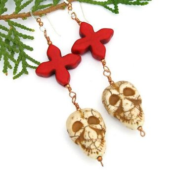 Skulls Crosses Handmade Earrings Day of the Dead Ivory Red Magnesite