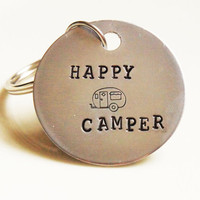 Hand Stamped Happy Camper Key Chain