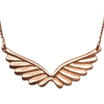 Rose Gold Plated Wing Pendant Neckalce