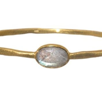 SKU Jewelry Gold Plated Sterling Silver Bangle with Oval Shaped Labradorite Stone